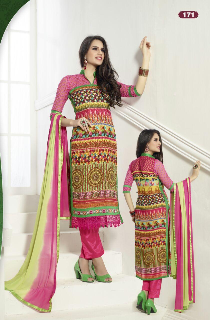 FIZA – Heavy Cambric Cotton Digital Printed Dress With Nazneen Chiffon Dupatta