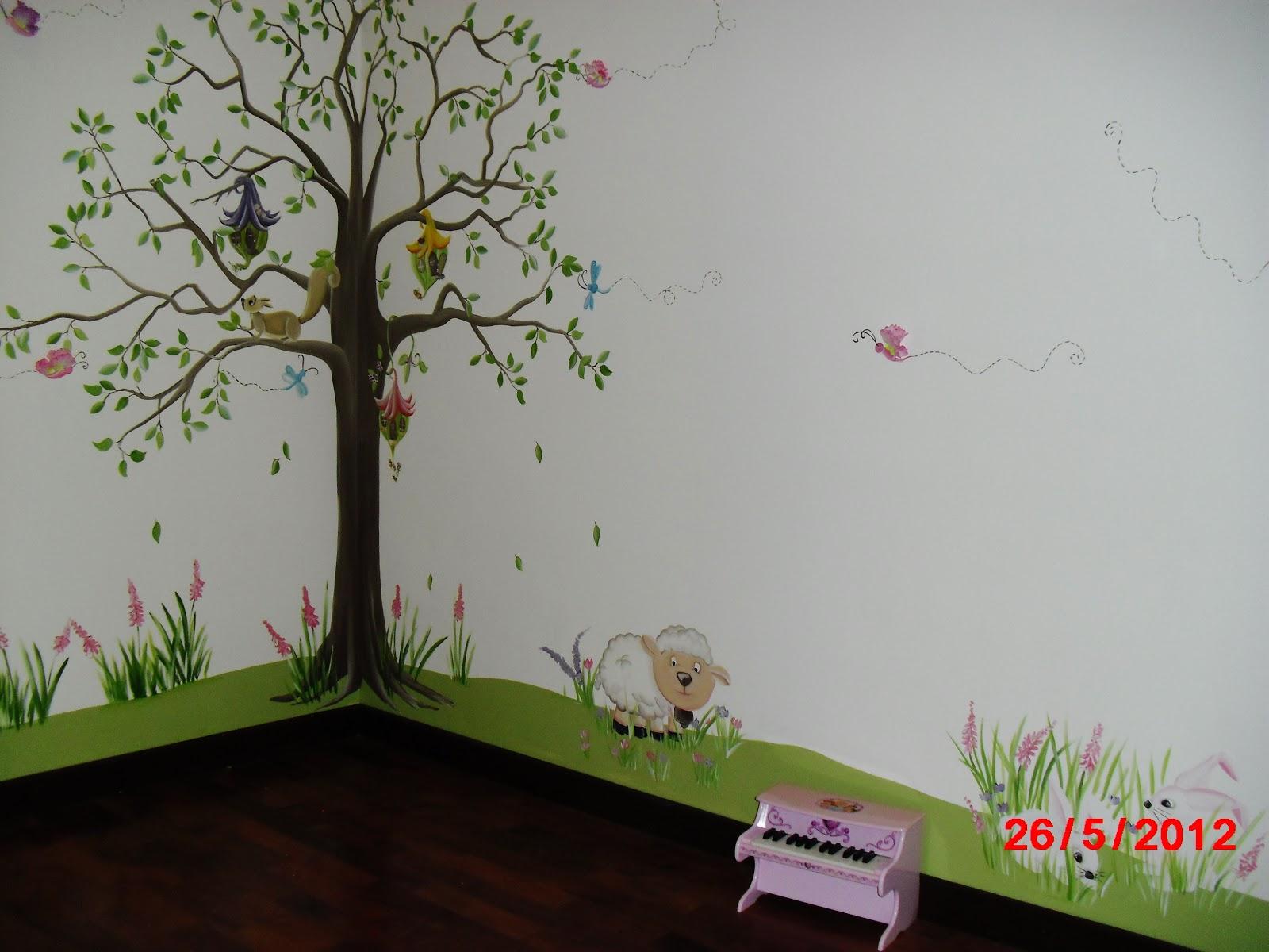 Murales infantiles blanca nieves en el bosque cuarto for Murales infantiles nina