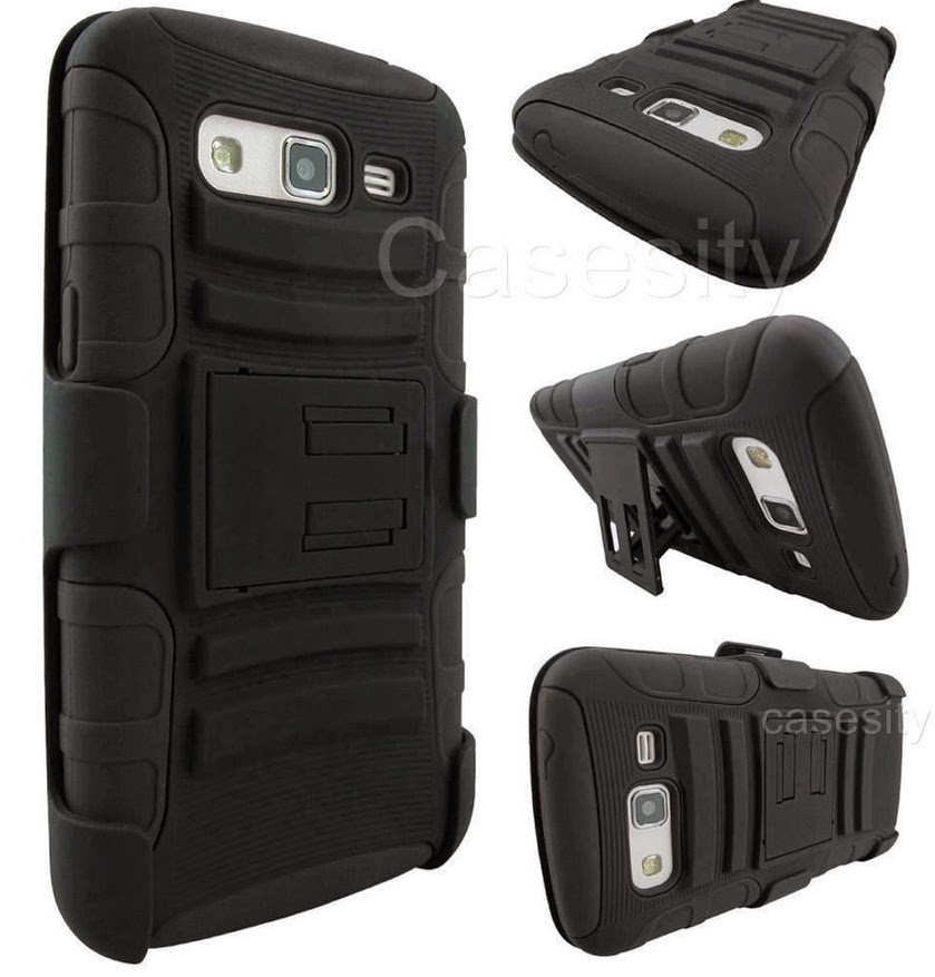 FOR SAMSUNG GALAXY GRAND 2 BLACK RUGGED HEAVY DUTY ARMOR IMPACT CASE W/ HOLSTER