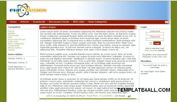 Elin Simple Green Php-fusion Theme