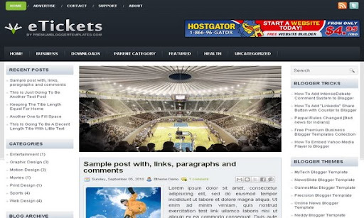 eTickets Blogger Template