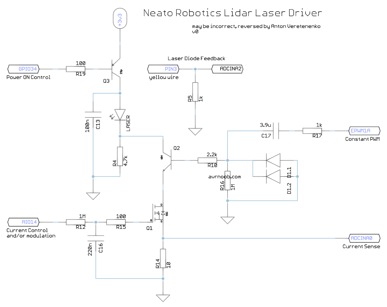 Making Electronics Neato Botvac Lidar Repair Part 1 Ir Camera Laser Diode Diagram Pulse Circuits For Infrared Leds And Visible Its A Bit Hard To Identify Sot 23 Transistors Mosfets So The Driver Has 3 Controls 2 Feedbacks There Is Power On Signal Turn