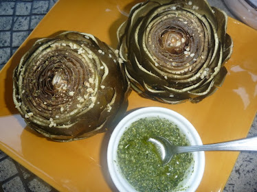 steamed artichokes with basil pesto