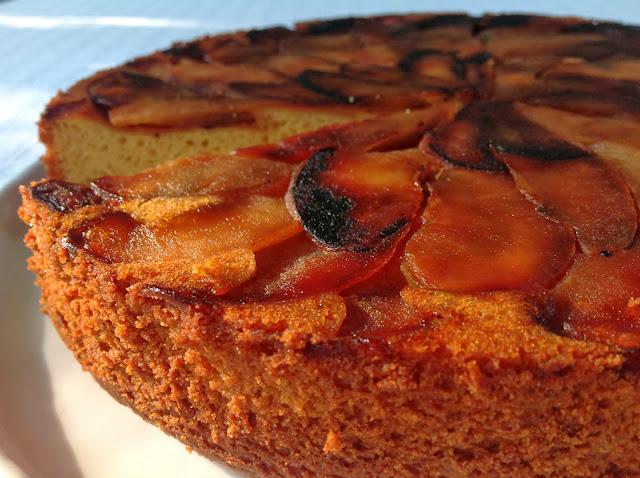 Upside Down Apple Polenta Cake