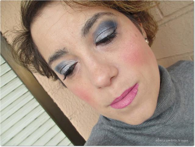 Maquillaje de fiestas low cost en plata y azul