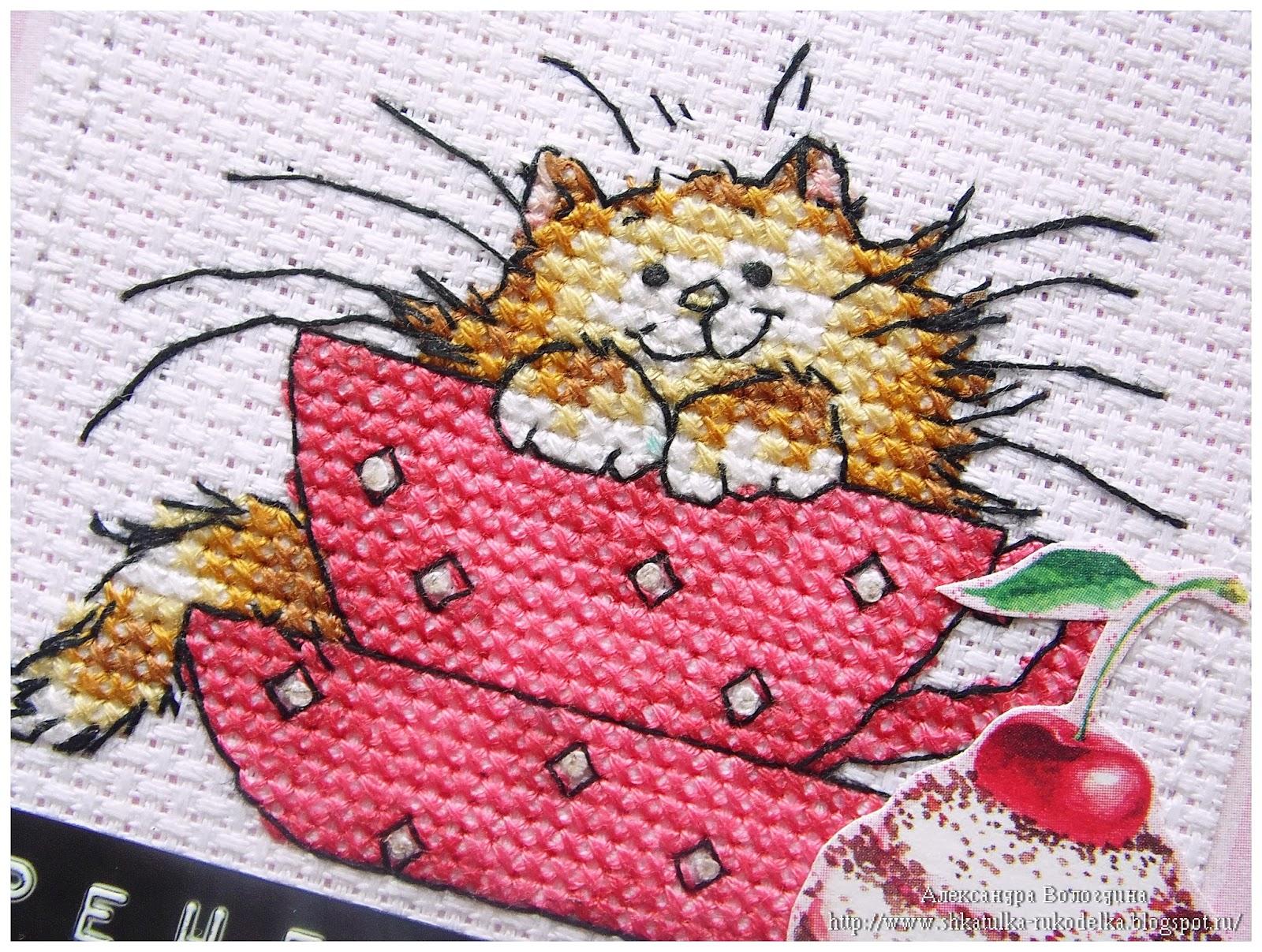 Вышивка коты в кружке 55