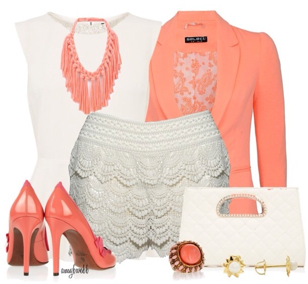Orange jacket, white blouse, lace shorts, hand bag and high heel sandals for ladies