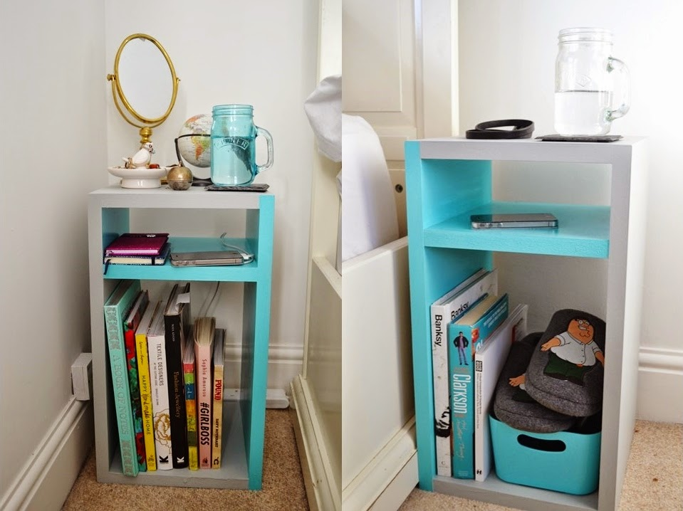 The turquoise door his and hers diy bedside cabinet for Diy bedside cabinet