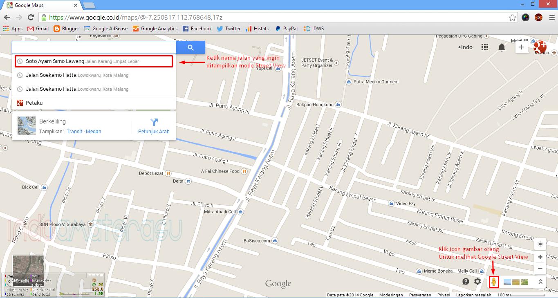 Cara mencari jalan pada Google Street View