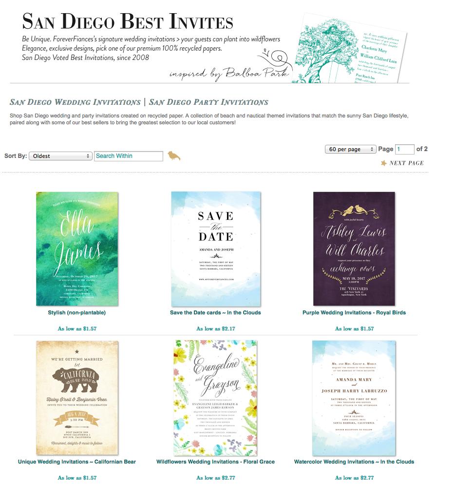San Diego Invitations