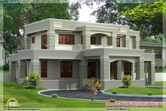 4 different style india house elevations kerala home for Flat roof elevation