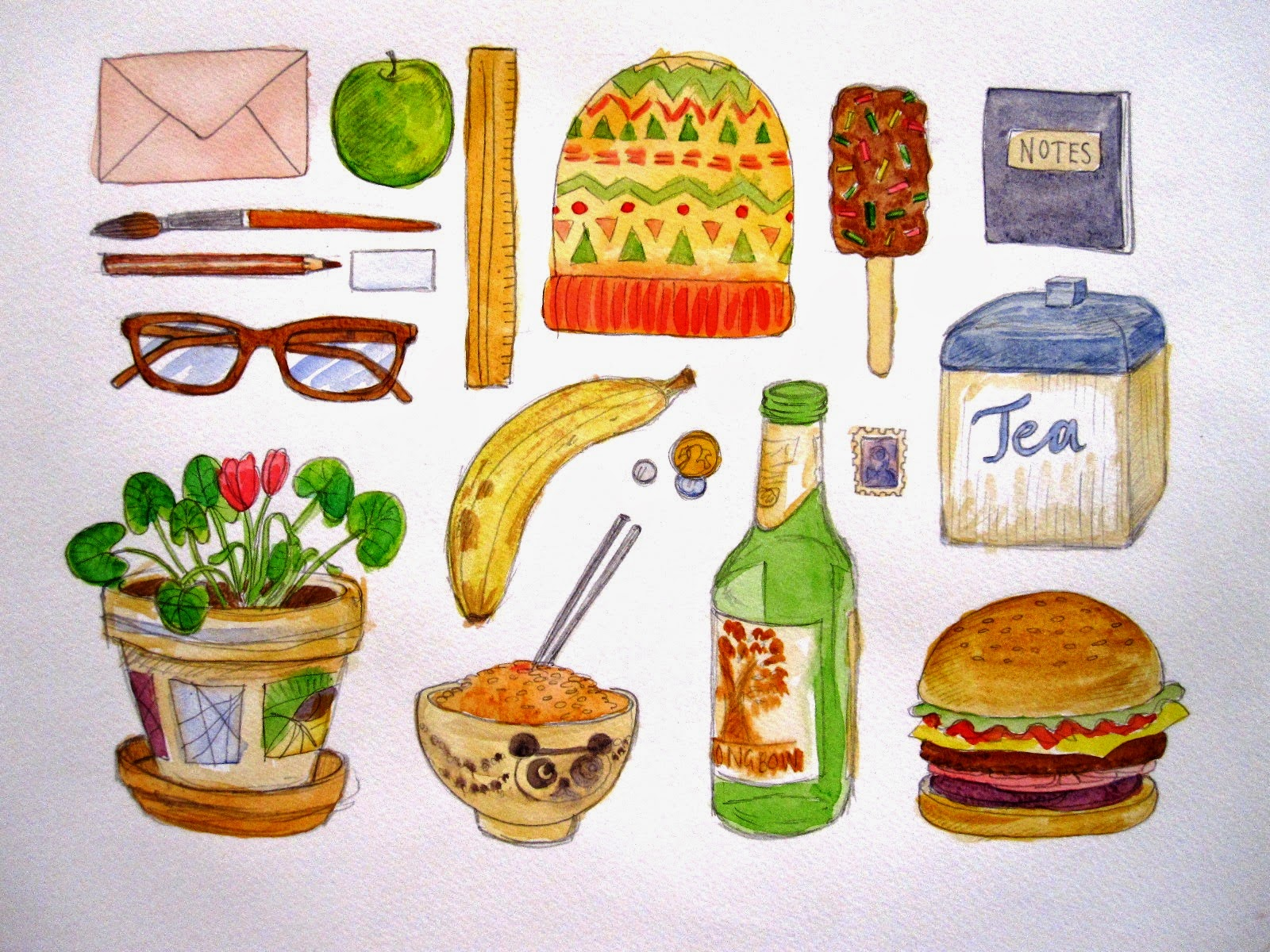 Coloured sketches of  range of  items including an envelope, knitted hat, glasses, banana and burger.