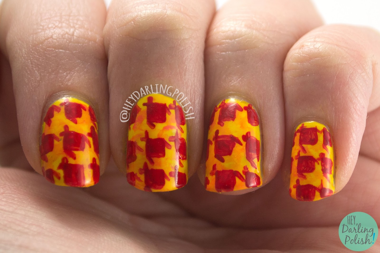 nails, nail art, nail polish, houndstooth, hey darling polish, warm, 52 week challenge, pattern
