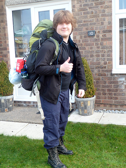 Tristan leaving for a Duke of Edinburgh expedition