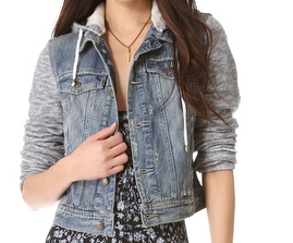 fashion, fashion trend, trend spotting, jean jacket, denim jacket, denim sweatshirt jacket, Free People, Free People Hoodie Jacket