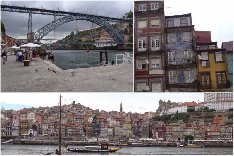 Puente Luis I y Barrio de Ribeira a orillas del río Duero en Oporto, Portugal