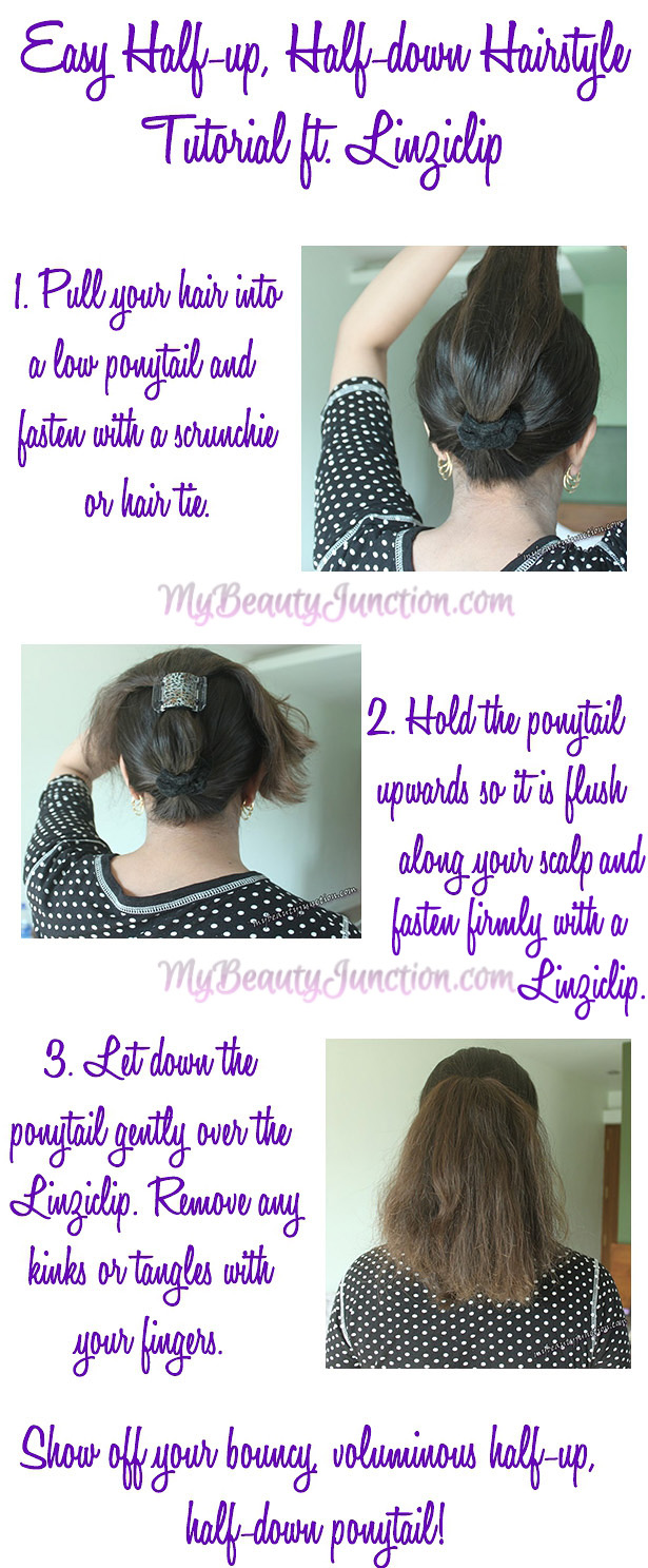 Fuss-free Half-up, Half-down Ponytail Tutorial For Frizzy Hair