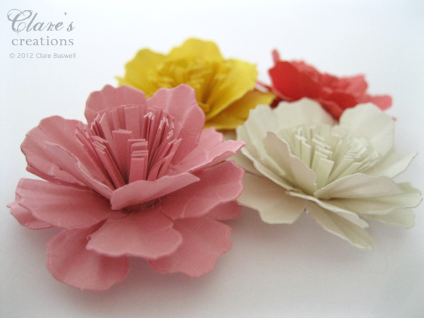 Paper carnation flower tutorial video clares creations just in case youre wondering the finished size of these flowers is 1 34 or 45mm wide i cant wait to play with these more mightylinksfo