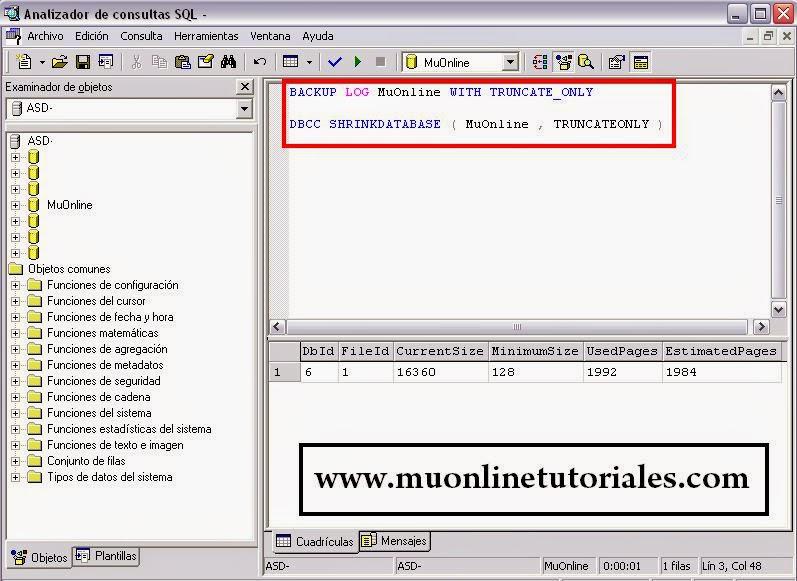Reduciendo espacio de nuestra base de datos MuOnline