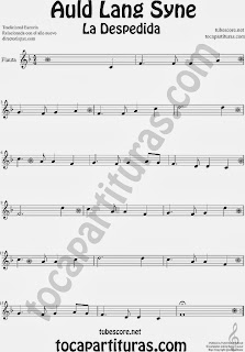 Partitura de La Despedida para Flauta Travesera, flauta dulce y flauta de pico Popular Italia Auld Lang Syn Sheet Music for Flute and Recorder Music Scores