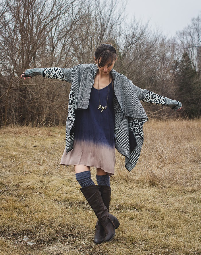 Ombre-dress-tribal-sweater-boho-style