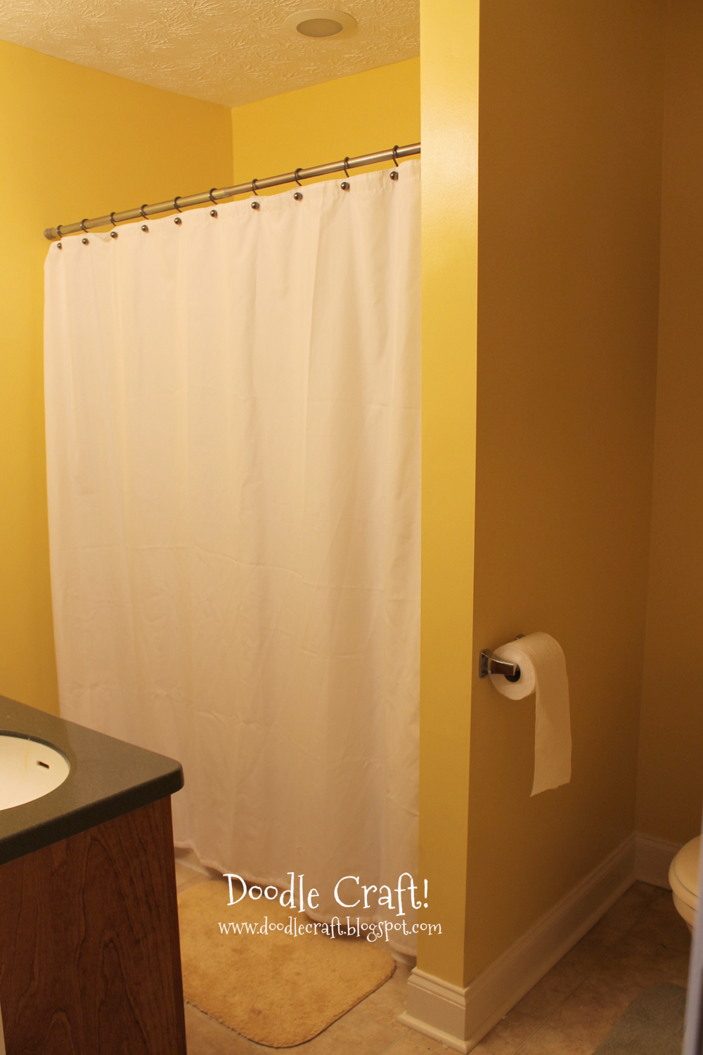 Doodlecraft stencil a shower curtain with cutting edge for Bathroom yellow paint