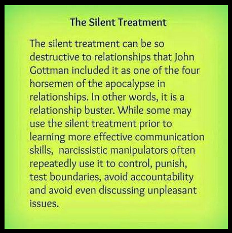 Silent treatment abuse from spouse