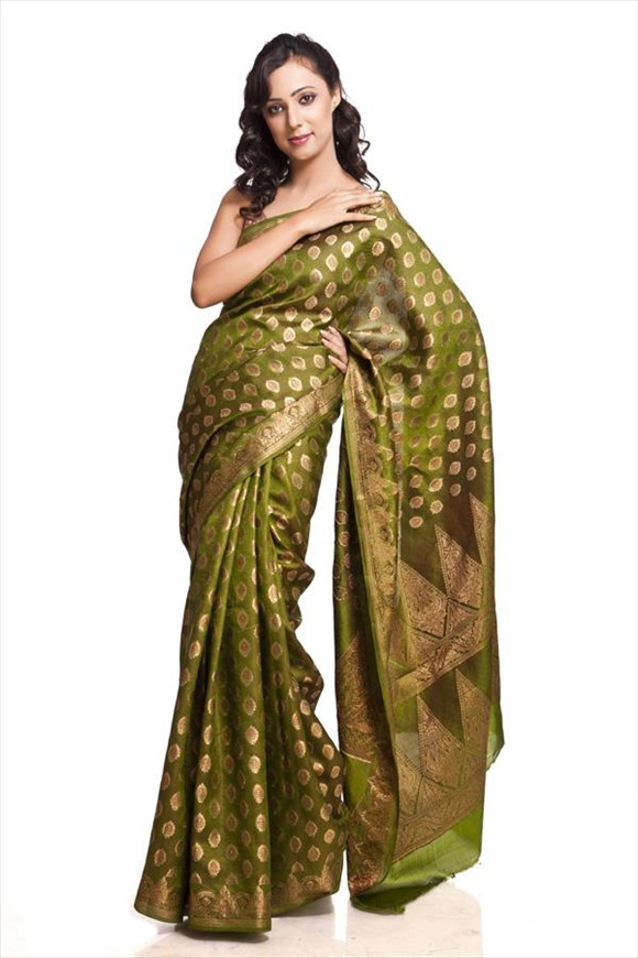 Spinach Green Dupion Banarasi Saree