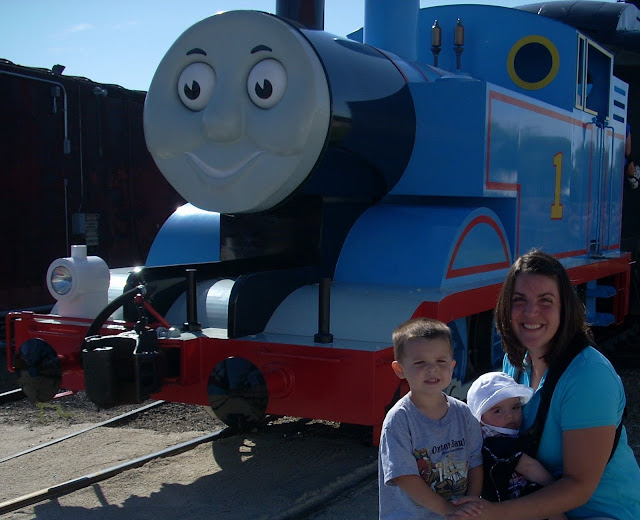 Mom and the boys in front of Thomas the Train