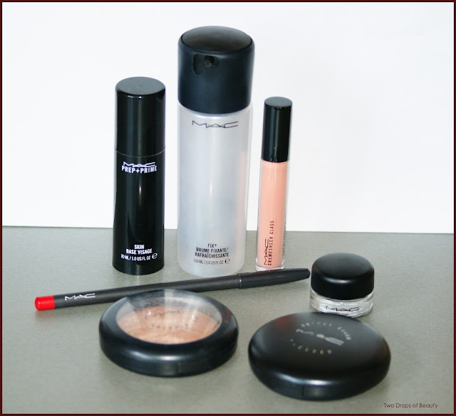 MAC, fix+, prep+prime, cremsheen, fluidline, select sheer powder pressed, mineralazed skinfinish, lip gloss, pencil