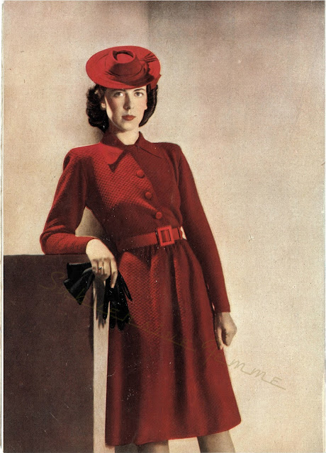 free vintage knitting pattern vogue 1940s red dress