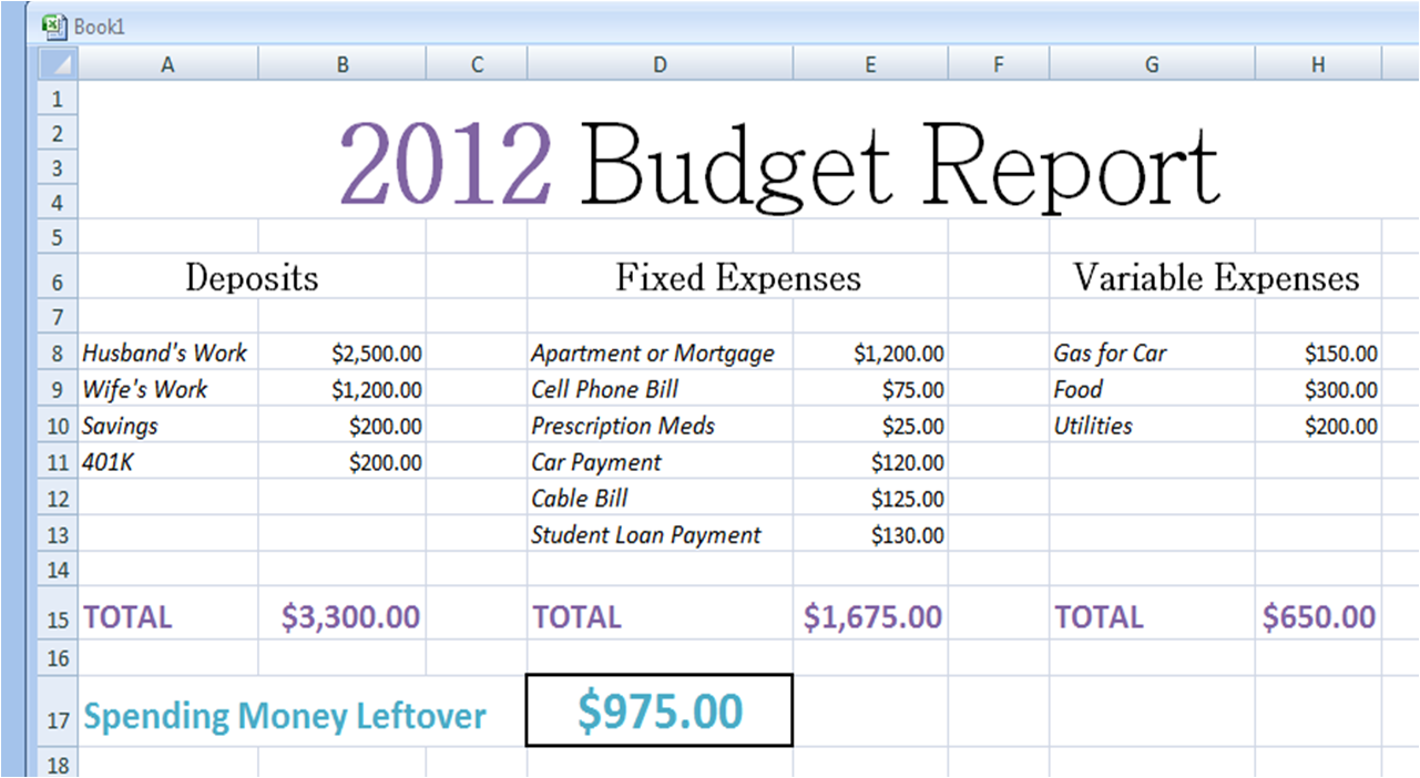 sample budgets for families