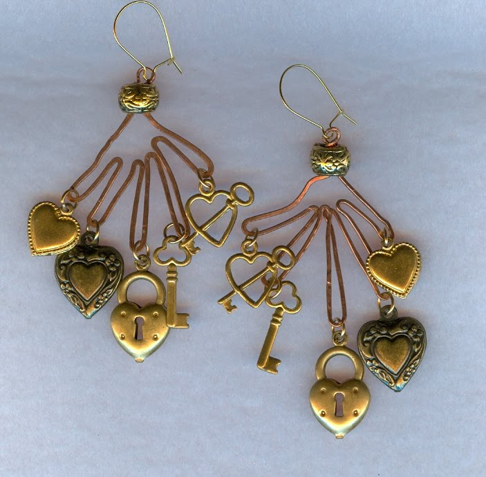 earrings copper hands and hearts