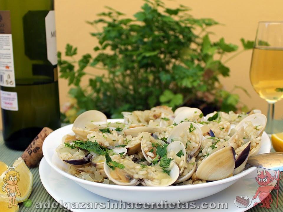 Arroz con almejas receta facil bajo en calorías, apto para diabéticos y bajo en colesterol