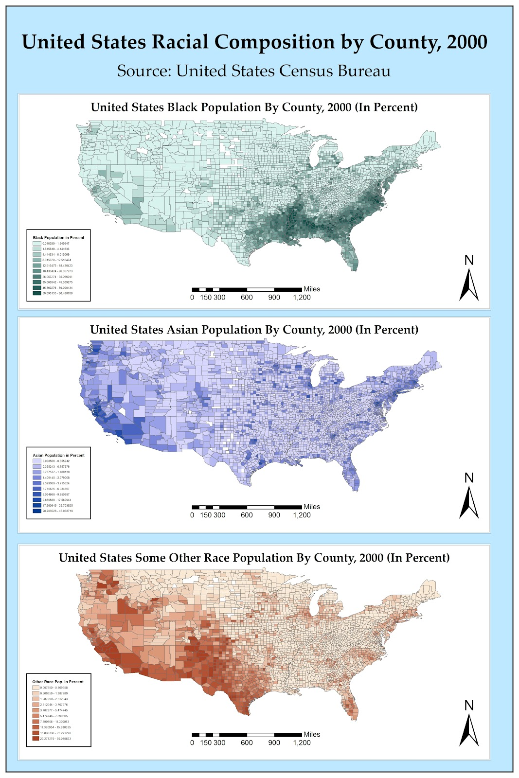 the first map of the census 2000 racial composition by county series presents the percentage of blacks by county in the continental united states