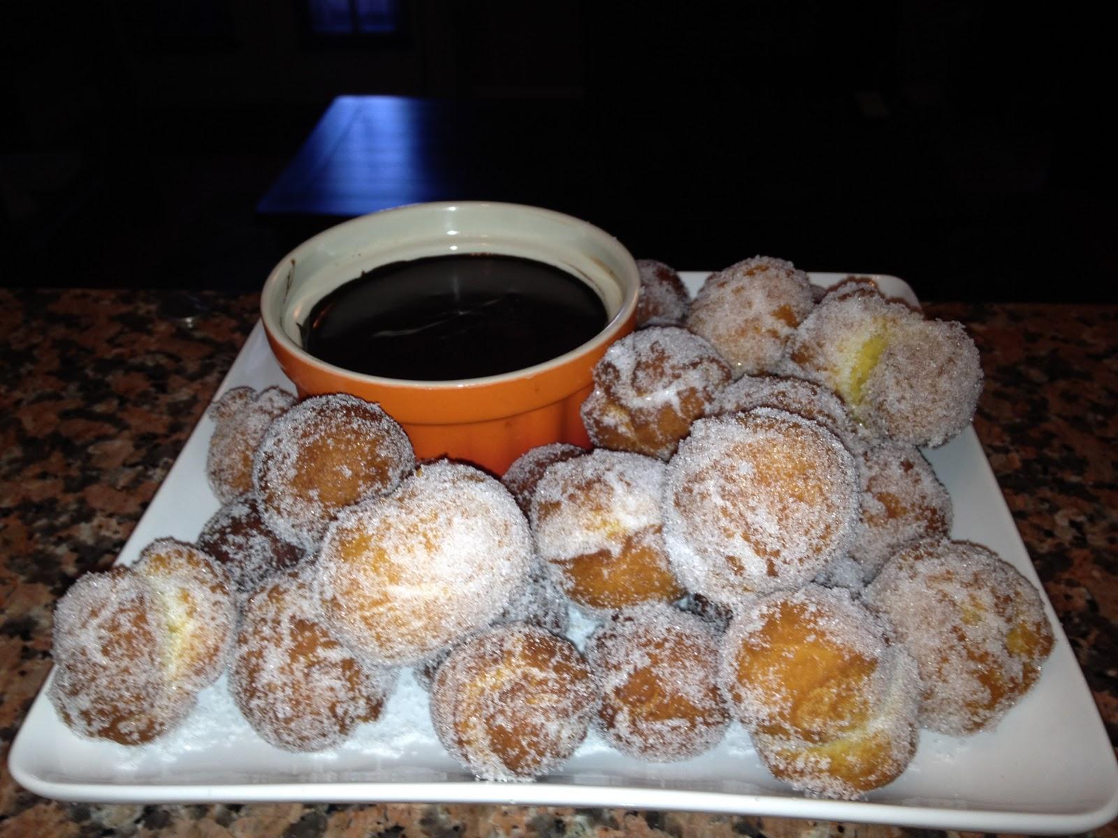 Fried Zeppole with Chocolate Espresso Sauce