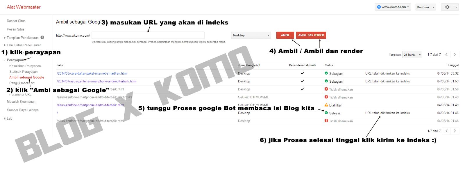 Cara Meng-Indeks Cepat URL Blog Ke Google via alat webmaster Perayapan Ambil sebagai Google