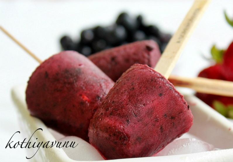 ... Strawberry - Blueberry Popsicles Recipe |Berry Pops - Kothiyavunu.com