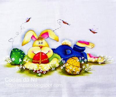 coelho da pascoa com ovos pintura em tecido