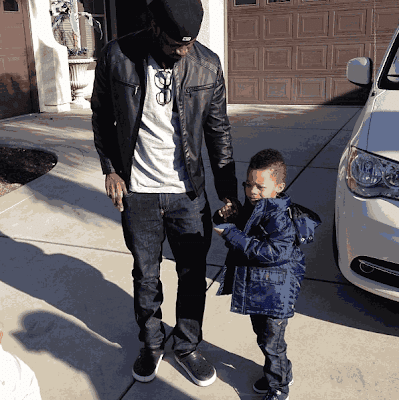 Peter Okoye and Son, pose for a photo as Cameron clocks 5