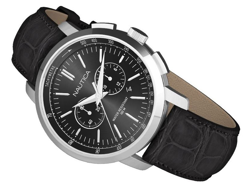 master horologer nautica watches nct 800 this classic dress sport watch features date seconds and 24 hour indicators and polished stainless steel cases men s styles come in black silver