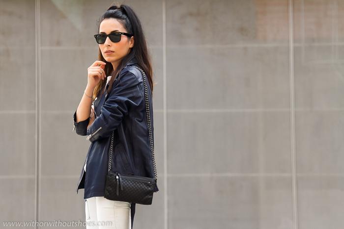 Blogger de Valencia con chaqueta de cuero piel y ray ban Wayfarer