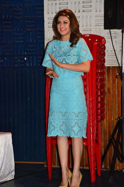 Hansika Motwani Displays Her Silky Smooth Sexy Legs In a Blue Dress At Tamil Film 'Romeo Juliet' Press Meet