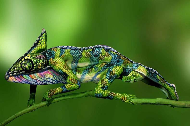 Este camaleón es en realidad dos mujeres con el cuerpo pintado