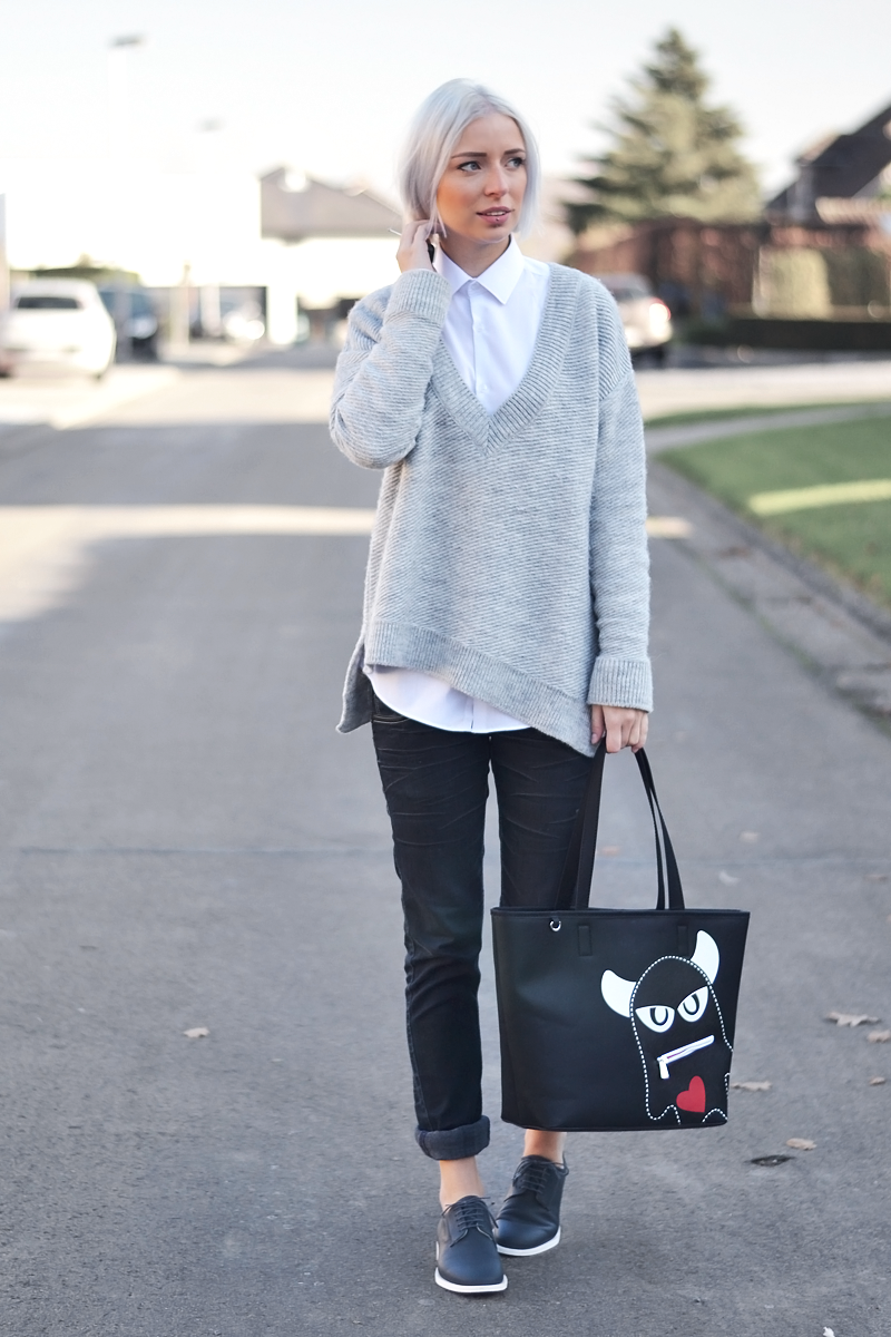 Zara, deep v-neck, jumper, outfit, asymmetric, White shirt, primark men, cos, brogue shoes, white sole, monster bag, esprit, outfit, minimal, white hair, grey hair