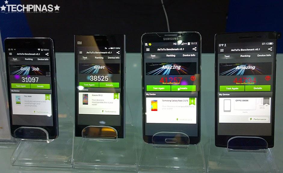 Samsung Galaxy Note 4 Antutu, THL T5000 Antutu, Oppo Find 7A Antutu, Xiaomi Mi3 Antutu