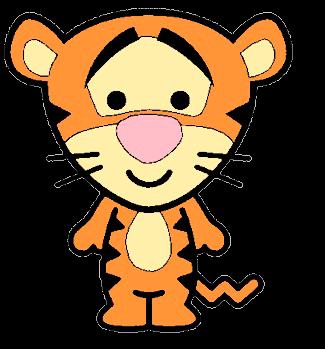 Desenho Tigrão baby fofinho colorido com fundo transparente Turma do Pooh
