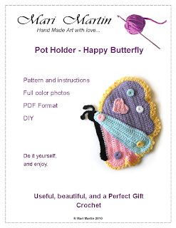 Crochet Pot Holder Butterfly PDF