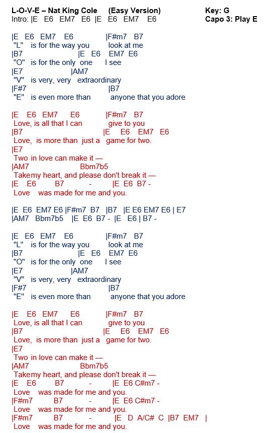 Talkingchord Nat King Cole L O V E Chords Cover
