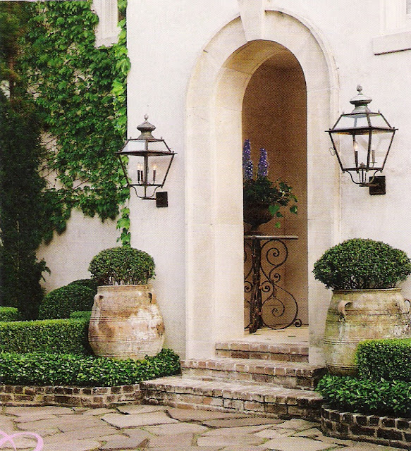 Veranda Magazine, stone steps, pavers, urns, edited by lb for linenandlavender.net, http://www.linenandlavender.net/2011/07/patience-my-dear.html